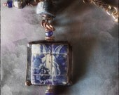 Guardian angel pendant portuguese tile miniature artisan copper necklace