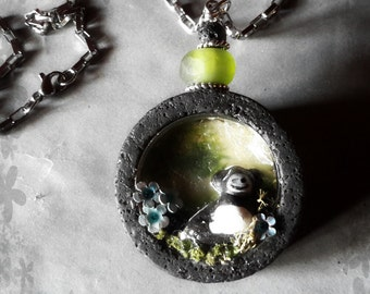 Art pendant Azores Country lava stone shadow box necklace