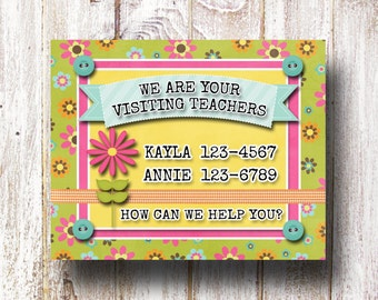 NEW Visiting Teaching Calling Card Customized JPEG- LDS Relief Society (Spring Colors)
