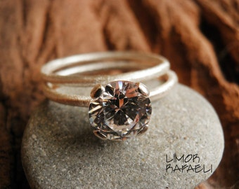 Engagement Rings Set, Stacking Rings, Vintage Inspired Classic Clear Cubic Swarovski Zirconia Rings, Bridal Jewelry