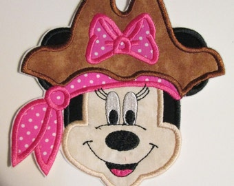 Girl Pirate Face - Iron On or Sew On Embroidered Custom Made Applique
