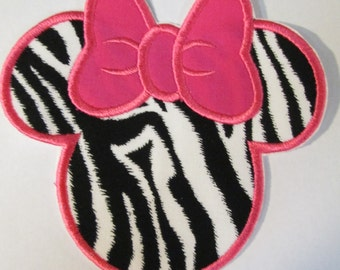 Iron On Applique -  Mouse Head Zebra and Hot Pink  READY TO SHIP in 3-7 Business Days