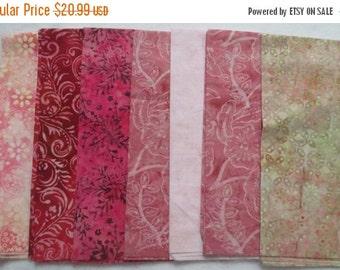 Sale Pink Red Peach Tonga Batik Fabric - Timeless Treasures - Fat Quarters