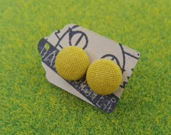 Mustard yellow fabric covered button stud earrings