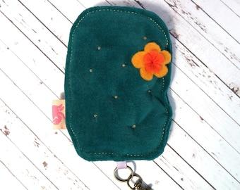 FREE SHIPPING-- Velvet plushie cactus keychain, with felt flower applique