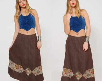 Vintage 70s Maxi Skirt PATCHWORK Skirt Boho Maxi Skirt Chocolate HIPPIE Skirt Cotton A Line Skirt Festival Skirt