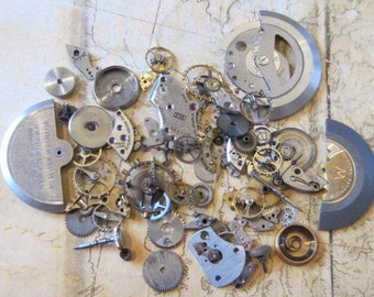 Vintage WATCH PARTS gears - Steampunk parts - g97 Listing is for all the watch parts seen in photos