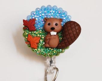 Little Baby Beaver ID Badge Reel - Retractable ID Badge Holder - Zipperedheart