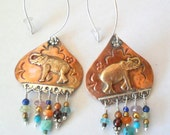 Artisan Elephant Copper and Sterling Earrings with Multi Stone Dangle
