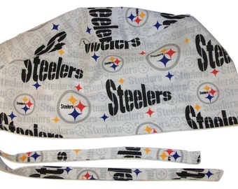 Mens Surgical Scrub Hat Handmade in the USA Pittsburgh Steelers Cotton Fabric Nurse Cap Tie Back Doctor ER Chemo Surgery Skull