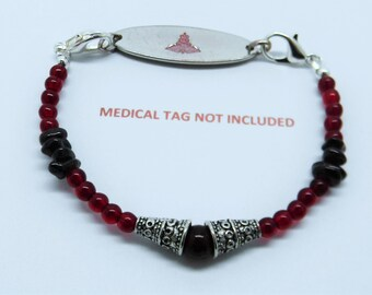 Beaded Medical ID Tag Alert Replacement Bracelet Strand GARNETS for Tag Charm or Watch Face Seizure / Allergy / Diabetic