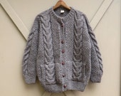 Inca Trail vintage Bark Brown Chunky Cable Knit Oversized Wool Cardigan Fisherman Sweater / Made in Ecuador