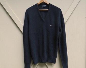 80s vintage Christian Dior Soft Black Acrylic Knit V-Neck Sweater / Christian Dior Monsieur