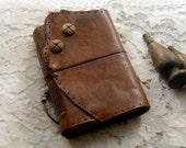 The Pilgrim - Rich Brown Leather Journal, Hand Bound, Aged Paper, OOAK