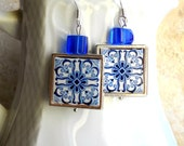 Portugal Azulejo Tile Replica 925 Silver Framed Earrings from BARCELOS Blue (see actual Facade photos)waterproof and reversible 705 Silver