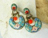 Portugal Antique Azulejo Tiles and Vintage Italian Micro Mosaic Earrings - OVAR  Ourivesaria Carvalho + Póvoa de Varzim (see photo) OOAK