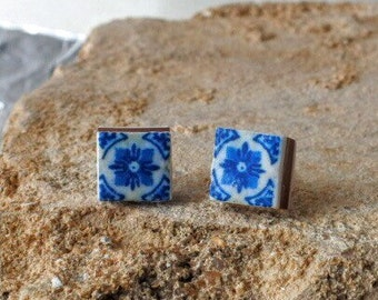 Portugal Antique Azulejo Blue Tile  Replica Earrings from Porto 1671  Post Stud Gift Box Included