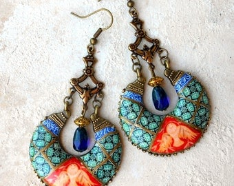 Earrings Chandelier Portugal Antique Azulejo Tile Replica Ilhavo - Dove Frescoes from Sintra Palace Chapel - Persian Bohemian