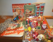 Vintage lot of Christmas Items Shabby REtro ornaments cozys beads stickers snow globe LOTS OF STUFF