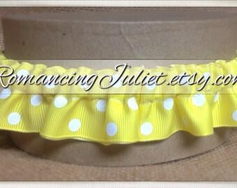 Satin Skirted Plain Bridal Garter...Custom Colors Available..shown in bright yellow polka dots
