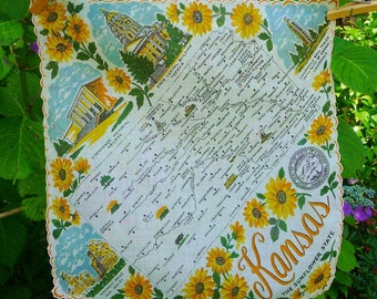 Vintage KANSAS State Hankie Handkerchief, Franshaw, White - Yellow Sunflowers