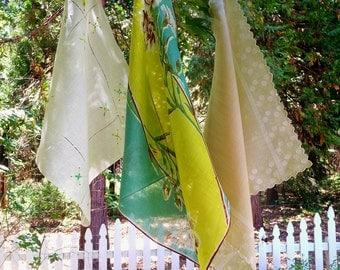 Vintage Lot 3 Hankies Handkerchiefs, Assorted Floral, Embroidered, Polka Dot