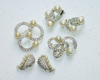 Vintage Rhinestone Jewelry Lot 1950's - Faux Pearls, Pave Crystal Rhinestones, Some Signed Marvella - 2 Swirl Brooches, 2 Clip Earrings