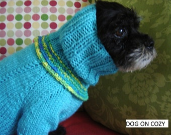 Bright Dog Sweater with Snood, Hand Knit Pet Sweater, Full Length Pet Top, Size SMALL, Snoodie Turquoise