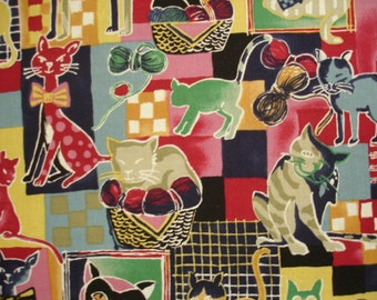 KNITTING BAG APRON - Made to Order - Comic Cat Patchwork Collage - Please allow 3 weeks for delivery