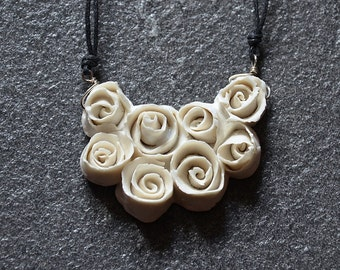 Porcelain Little roses Necklace  - Roses Necklace - Statement Necklace