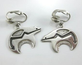 Vintage Sterling Silver Thunder Spirit Bear Clip on Earrings Signed Anitras