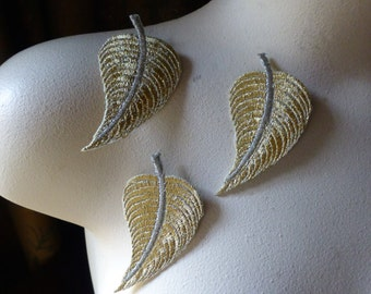 3 Gold Leaves Leaf Appliques for Lyrical Dance, Ballet, Bridal, Headbands, Costumes IRONLA 2