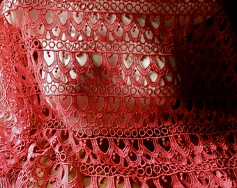 SALE Wide Red Lace Venise Lace for Garments, Costumes WL