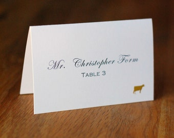 Personalized Tented Place Cards for Wedding Reception Dinner with Custom Meal Icons