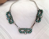 Zuni Petit Point Turquoise and Silver Necklace
