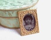 Miniature Tin Type Victorian Dollhouse Photo Gold Alloy Pressed Frame