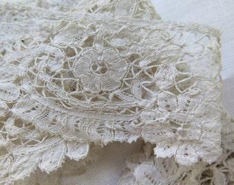 """Antique Duchesse Lace Trim Belgium Lace Two Pieces 31"""" x 2"""""""