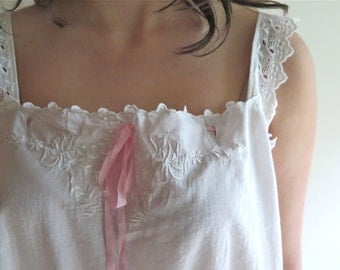 Antique White Cotton Nightgown Slip/Teddy with Hand Embroidery Large
