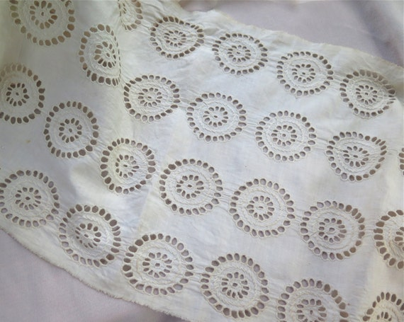 Embroidered eyelet fabric remnant in cotton muslin antique