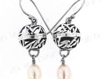 "1"" Freshwater Pearl Cast 925 Sterling Silver Earrings"