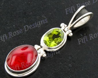 """1 1/2"""" Red Coral Peridot 925 Sterling Silver Pendant"""