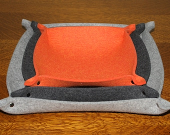 Nesting Valet Tray Set in 5mm Merino Wool Felt Square Catchall Bowls Home Organization and Storage
