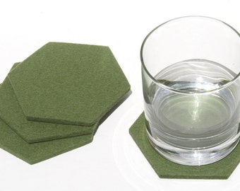 Hexagon Felt Coasters Fun Modern Minimalist Coaster Set in 5mm Thick Felted Wool Eco-friendly Geometric Honeycomb Cup Kitchen Decor