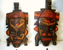 Vintage KENYA African Wood Mask, 1980s, Tribal Art, Hand Carved and Stained, Pick One