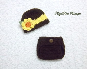 Newborn to 3 Month Old Baby Girl Crochet Striped Sunflower Hat and Diaper Cover Set Brown and Yellow