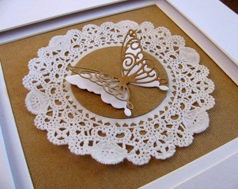 Inventory Clearance Kraft & White Layered Butterfly on Crisp White Paper Doily on Kraft with Firm Watercolor Paper Beneath. 6x6 inches