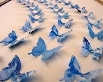 Inventory CLEARANCE 11X14 Rhapsody in Blue 3D Butterfly Art / Butterfly Wall Art / Ready to Ship