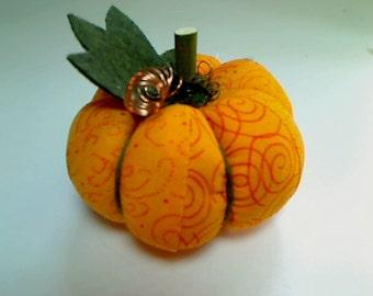 Size 2   Orange Fabric Pumpkin   Halloween   Thanksgiving   Fall Decor   Table Decor   Stuffed Pumpkin   Shelf Sitter   Pin Cushion    #6