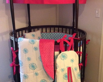 Round Crib Bedding Set Aqua and Pink Dandelions Complete Set Deposit