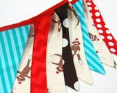 Sock Monkey Birthday Party Banner Decoration in Red, Aqua Blue, Brown, Photography Prop, Bunting -- red, brown, white monkey fabric flags